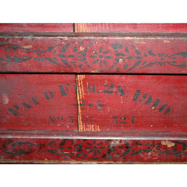 Antique Stenciled Red Book Press For Sale - Image 4 of 4