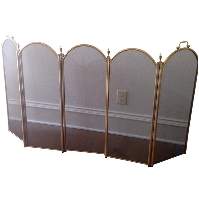 Vintage Five Panel Brass Fireplace Screen - Image 1 of 3