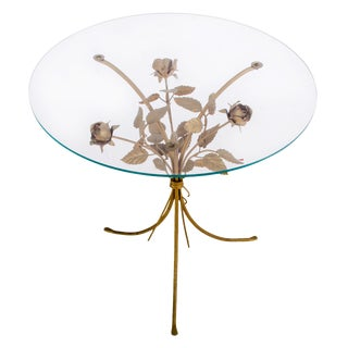 1960s Hollywood Regency Hans Kögl Flower Side Table For Sale