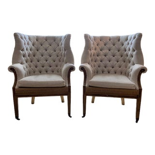 Restoration Hardware Wing Back Chairs - A Pair For Sale