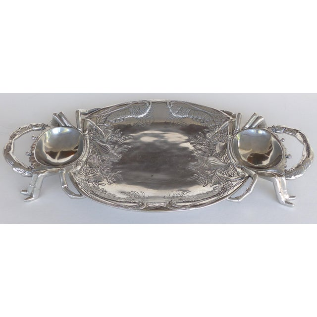 Offered for sale is a vintage Arthur Court crab and lobster motif serving tray with 4 accompanying serving plates. The...