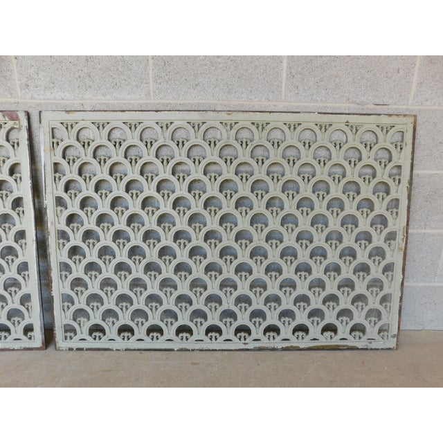 Arts & Crafts Large Antique Wrought Iron Trefoil Design Wall Heat Grate Decor 46w - a Pair For Sale - Image 3 of 8
