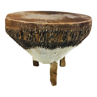 1940s African Hand Made Drum Table For Sale