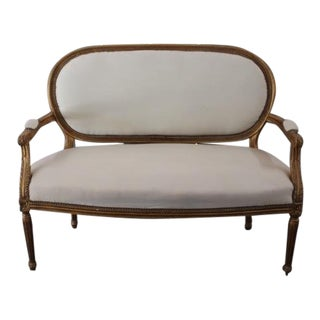 Vintage 20th Century French Louis XVI Style Oval Back Settee For Sale