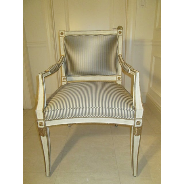 Neoclassical Neoclassical Armchair in Striped Silk For Sale - Image 3 of 11