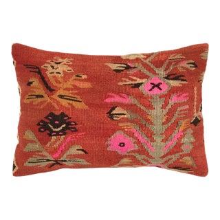 "XL Floral Coral Kilim Lumbar   16"" X 24"" For Sale"