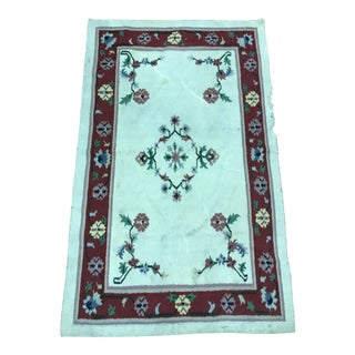 Floral Wool Area Rug For Sale