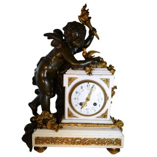 Antique Mantle Clock on Marble Base Bronze and Patina Bronze Louis XVI Style For Sale
