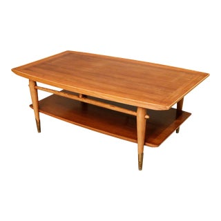 Mid-Century Curated Walnut Coffee Table With Shelf on the Bottom For Sale