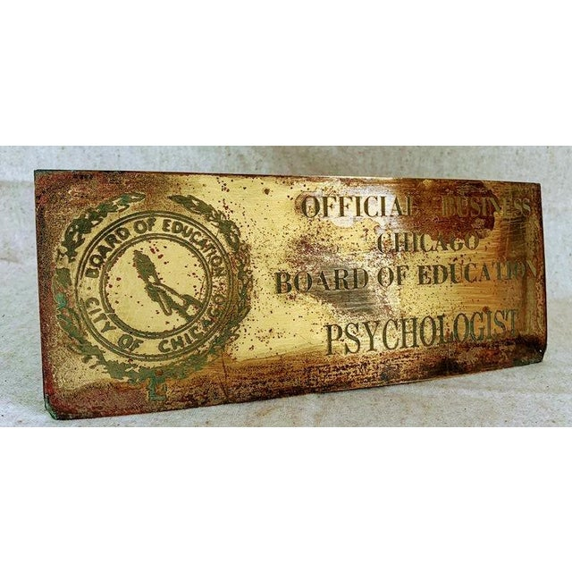 1960s Vintage Industrial Brass Sign- City of Chicago Education Psychologist For Sale - Image 5 of 6