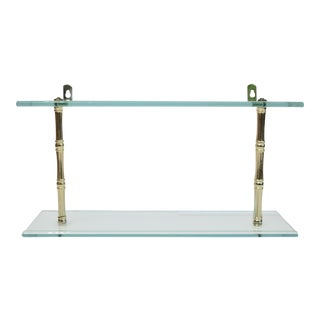 Faux Bamboo Glass Two-Tier Wall Shelf