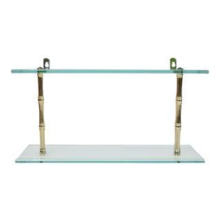 Faux Bamboo Glass Two-Tier Wall Shelf