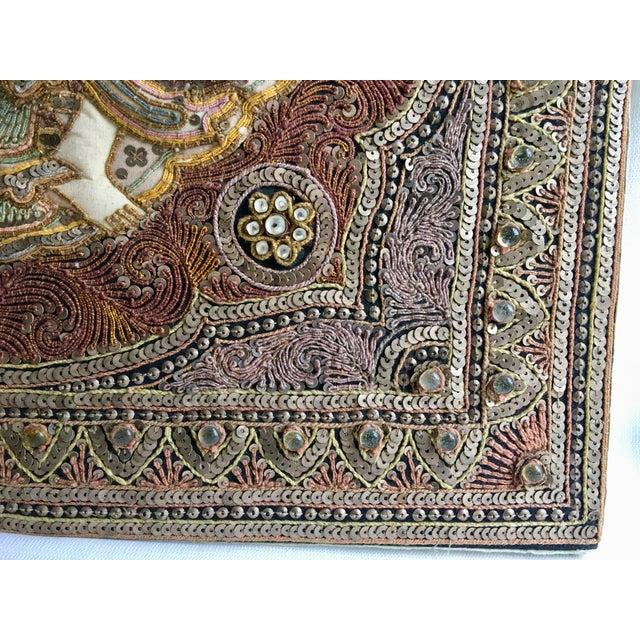 Tan Vintage Burmese Kalaga Dancer Tapestry For Sale - Image 8 of 10
