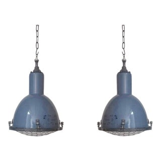 1940s Cold War Periwinkle Enameled Industrial Lights - a Pair For Sale