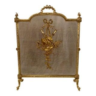 Antique French Louis XVI Bronze Firescreen, Circa 1880. For Sale