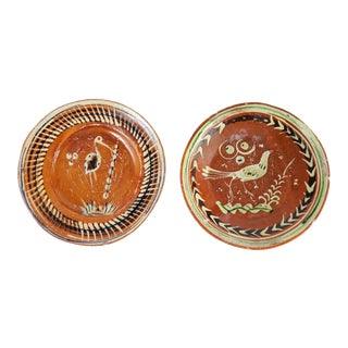 1950s Boho Chic Hand Decorated Mexican Redware Majolica Plates - a Pair For Sale