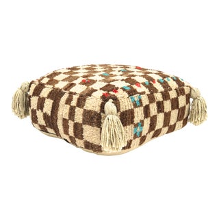 Vintage Mid Century Checkered Berber Pouf For Sale