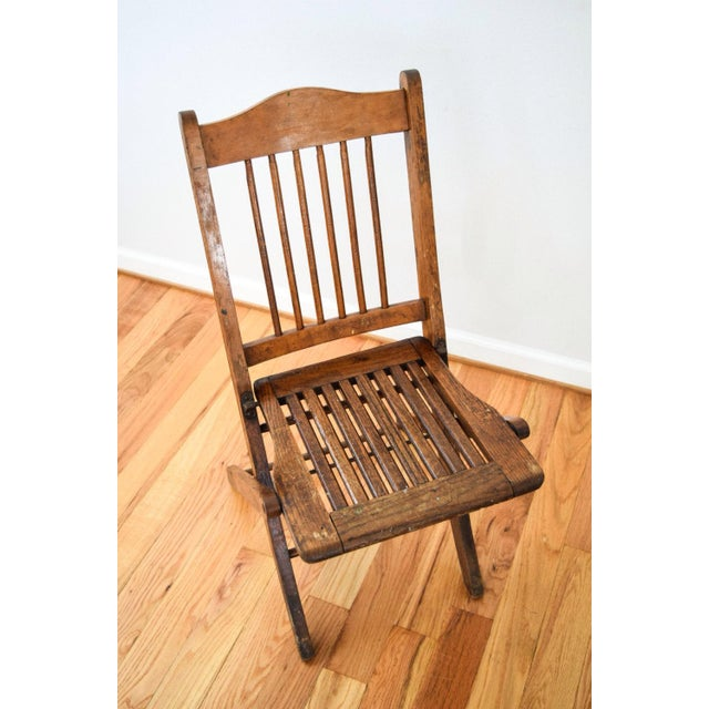 Antique Wood Folding Theater or Deck Chair For Sale - Image 4 of 6