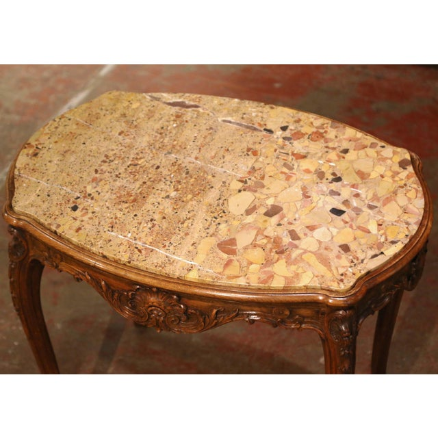 19th Century French Louis XV Carved Oak Side Table With Beige Marble Top For Sale In Dallas - Image 6 of 13