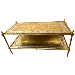 Faux Bamboo Brass and Gold Gilt Glass Two-Tier Coffee Table by Jansen