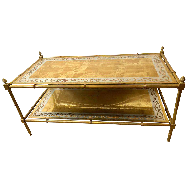 Faux Bamboo Brass And Gold Gilt Glass Two Tier Coffee Table By Jansen