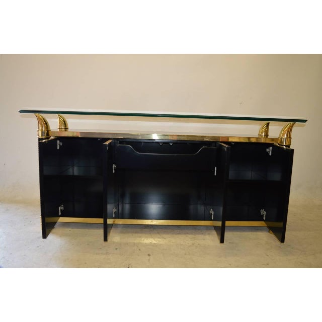 Black Lacquer Hollywood Regency Cabinet by Weiman - Image 4 of 6