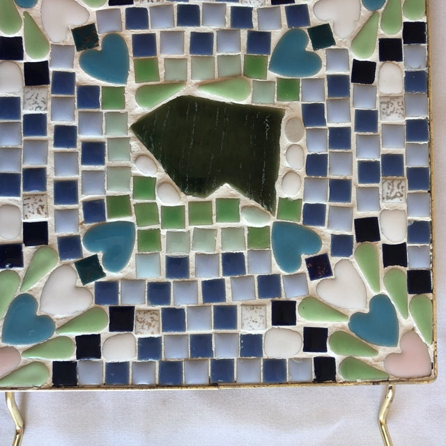 Mid 20th Century Vintage Blue & Green Mosaic Trivet For Sale - Image 5 of 8