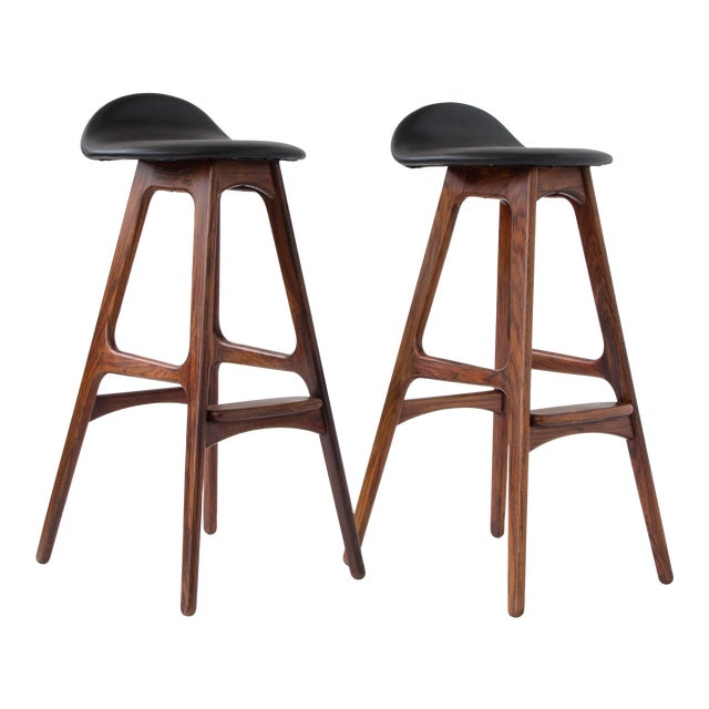 Erik Buch for O.D. Møbler Rosewood & Leather Bar Stools- A Pair - Image 1 of 6