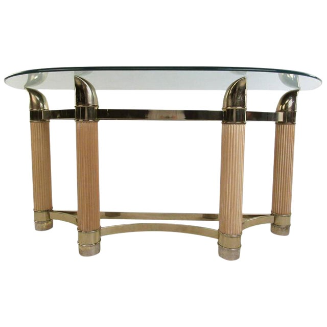 Mid-Century Modern Demilune Console Table For Sale