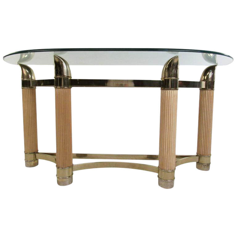 Mid Century Modern Demilune Console Table