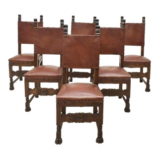 1900s Antique Dining Italian Renaissance Revival Walnut Chairs - Set of 6 For Sale