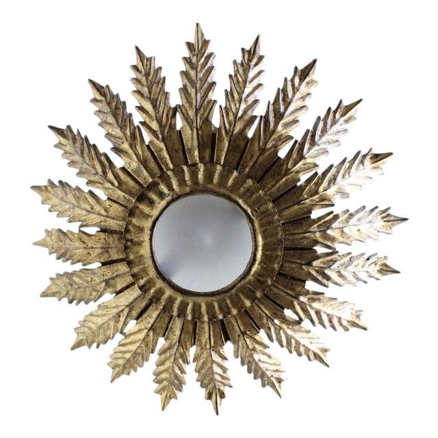 20th Century Spanish Gilt Metal Sunburst Ceiling Fixture - Image 1 of 10