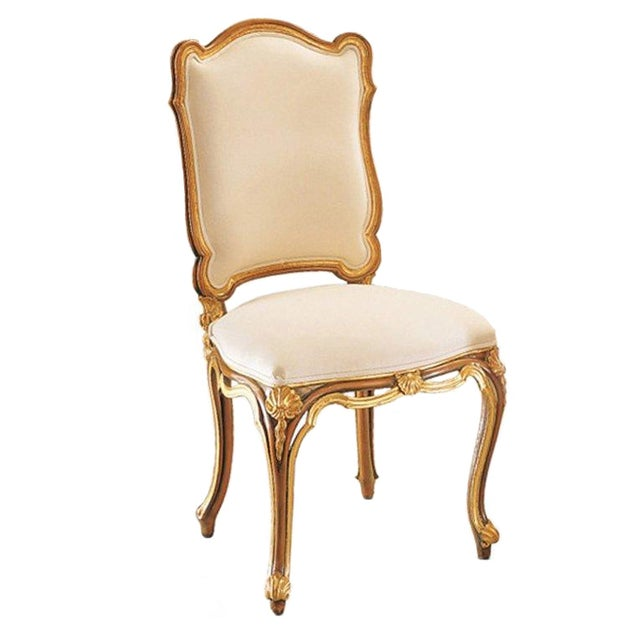 Italian Gold & White Hand Carved Wood Chair - Image 1 of 3