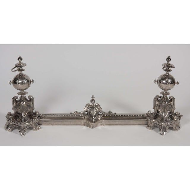 Late 19th Century Antique Chrome Plated Chenet For Sale - Image 5 of 9