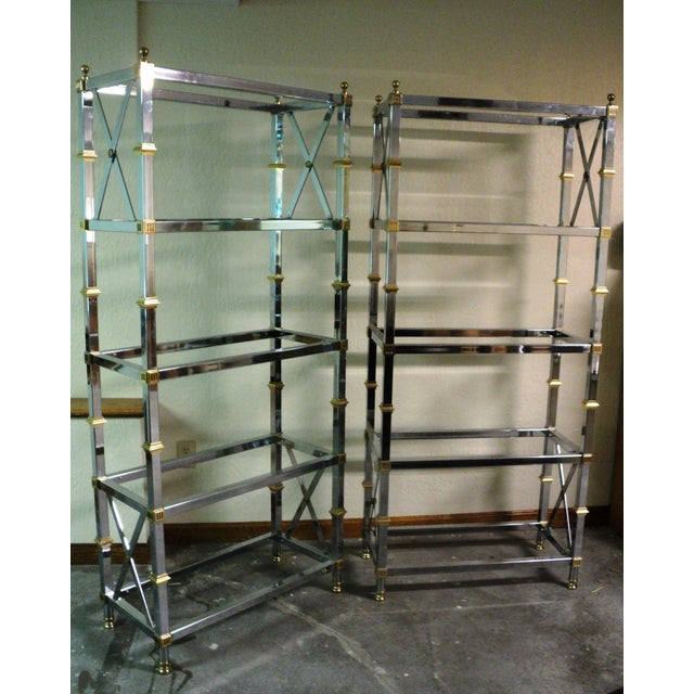 Jansen Style Neoclassical Chrome Etageres - Pair - Image 2 of 7