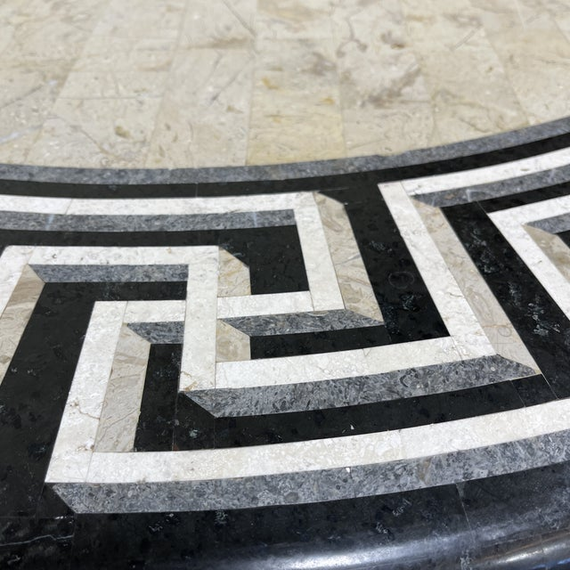 1990s Tessellated Stone Top Greek Key Entryway Game Table For Sale - Image 5 of 12