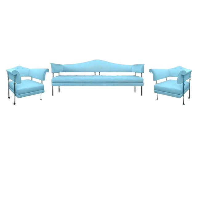 Poltrona Frau Hydra Enif Sofa Set by Luca Scacchetti in Atollo Pelle Frau Leather - Set of 3 For Sale