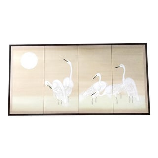 Vintage Japanese Byobu Four Panel Screen White Cranes and Moon For Sale
