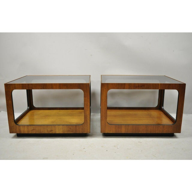 Mid Century Modern Lane Walnut Smoked Glass Modernist End Tables - a Pair. Item features smoked glass top, beautiful wood...