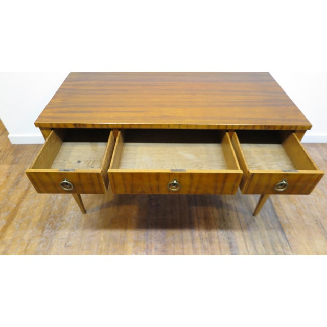 Midcentury Tiger Wood Desk For Sale - Image 4 of 13