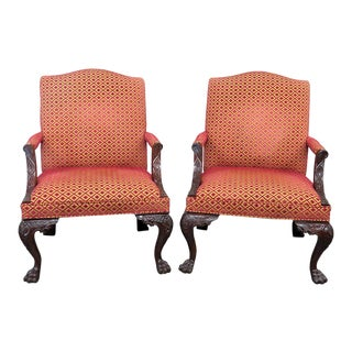Vintage Mid Century Georgian Style Lolling Chairs- A Pair For Sale
