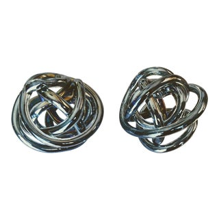 Gray Translucent Cased Glass Sculptural Knots - a Pair For Sale