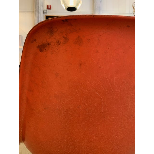 Set of 3 Bright Orange Mid Century Modern Shell Eames Chairs For Sale - Image 9 of 13