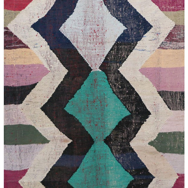 "Kilim Boucherouite Moroccan Kilim, 3'10"" X 7'7"" Feet For Sale - Image 4 of 6"