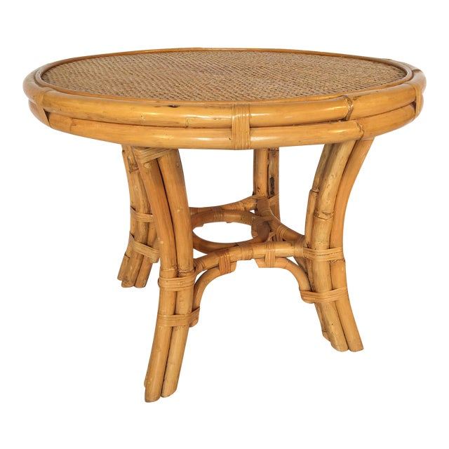 Vintage Palm Beach Cane and Rattan Round Side Table - Image 1 of 7