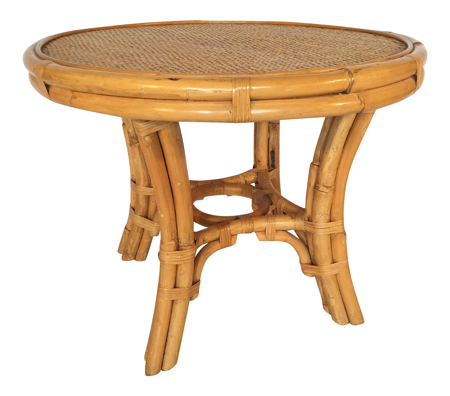 Vintage Palm Beach Cane And Rattan Round Side Table For Sale