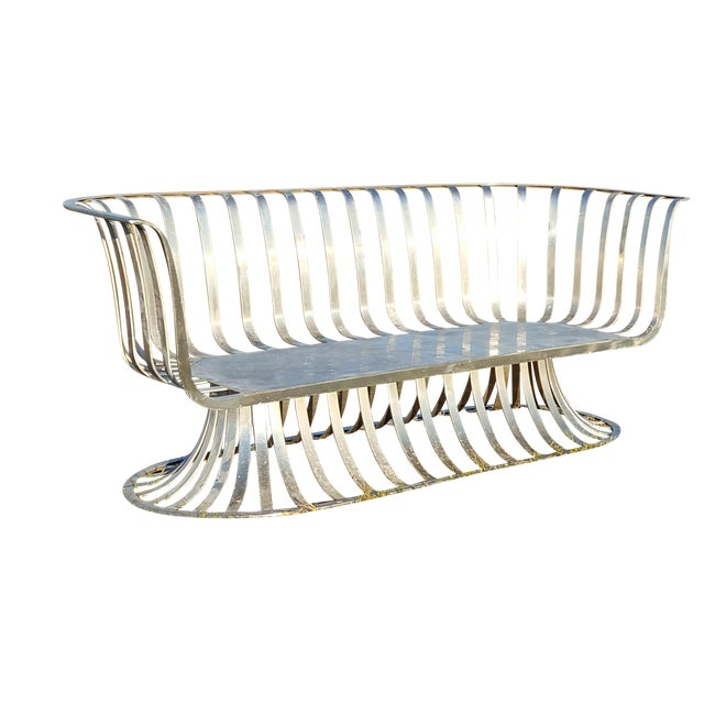 Russell Woodard Aluminum Settee For Sale