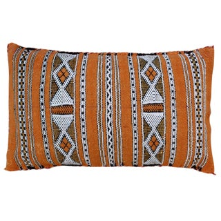Striped Moroccan Orange Pillow For Sale