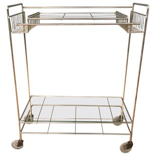 Mid-Century Modern Champagne Finish Metal and Glass Bar Cart, 1960s For Sale