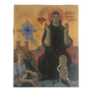Vintage Folk Art Painting of the Patron Saint of Healing: Free Shipping For Sale
